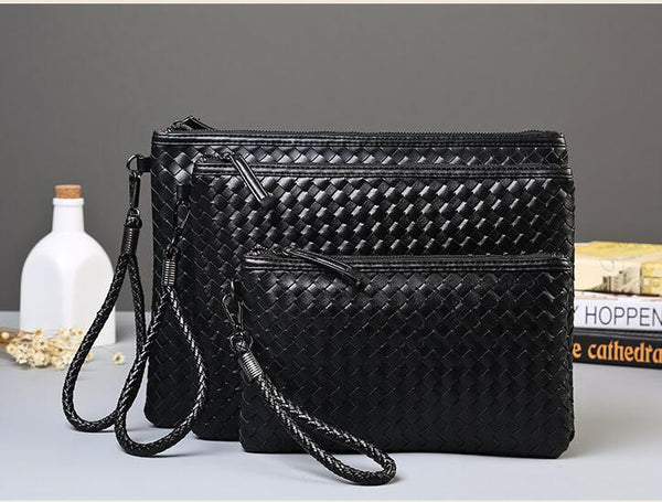 Men Woven Faux Leather Envelope Bags