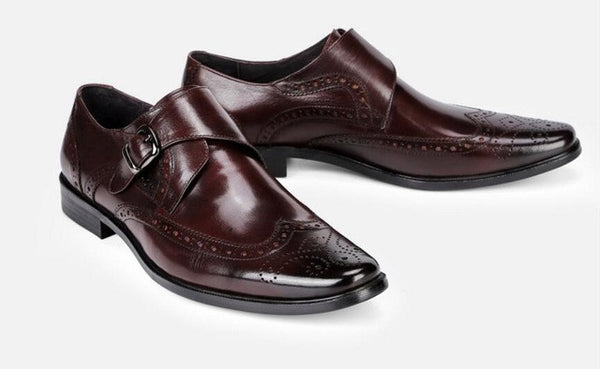 Big Buckle Monk Strap Men Brogue Shoes with Wingtip