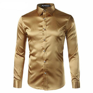 Silky Satin Men Dress Shirt For Formal, Party and Clubbing - FanFreakz