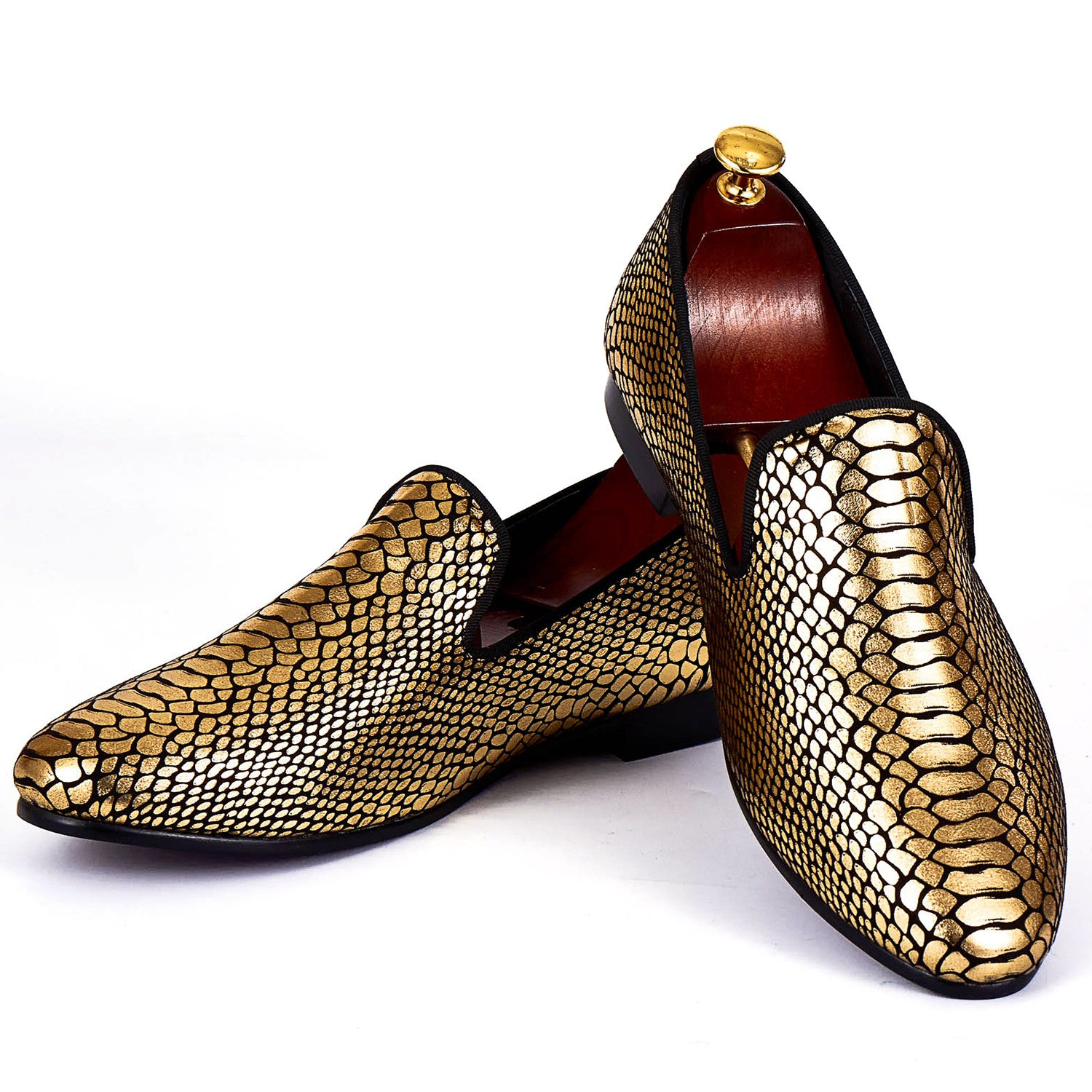 Gold Snake Skin Pattern Style Men Loafers Shoes - FanFreakz