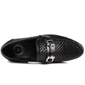 Horsebit Buckle Woven Men Loafers Slip On Shoes - FanFreakz