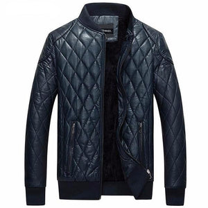 Stitched Biker Style Men Leather Jacket with Stitched Shoulder Patchwork - FanFreakz