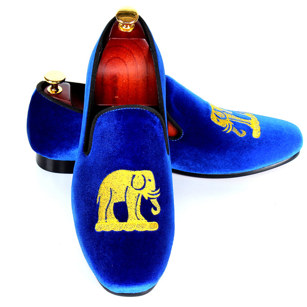 Blue Velvet Men Loafers with Elephant Embroidery