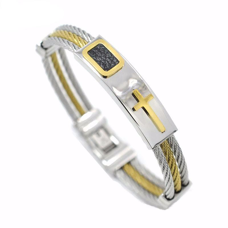 3 Rows Wire Cable Twist Christian Cross Bevel Embossed Men Bangle Bracelet - FanFreakz
