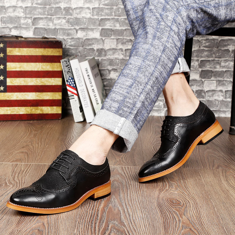 Upper Patchwork Stingray Pattern Detail Men PU Leather Derby Shoes - FanFreakz
