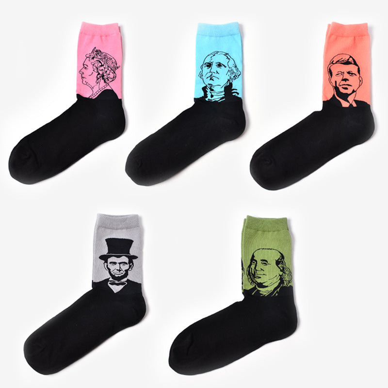 Skate Style Famous People Graphic Men Socks - FanFreakz