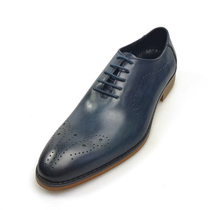 Vintage Blue Style Lace Up Men Formal Shoes - FanFreakz