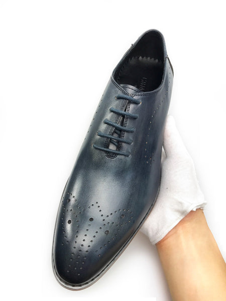 Vintage Blue Style Lace Up Men Formal Shoes