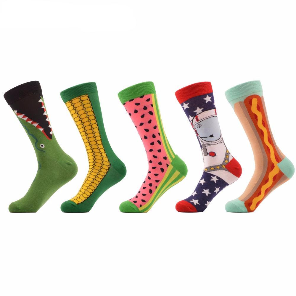 Combed Cotton Socks Funny Pattern 5 pair/lot Corn, Astronaut, Hot Dog, Watermelon , Croco