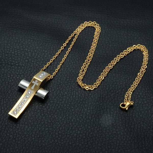 Classic Style Men Gold Color Christian Cross Pendant & Necklace