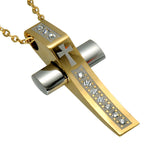 Classic Style Men Gold Color Christian Cross Pendant & Necklace - FanFreakz