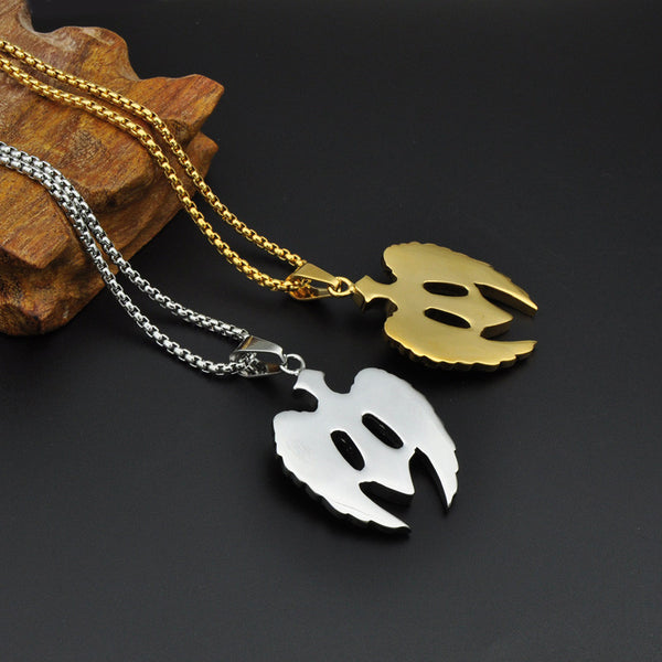 Hiphop Rock Men Stainless Steel Cross Necklace Paving Wing