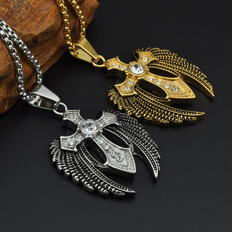 Hiphop Rock Men Stainless Steel Cross Necklace Paving Wing - FanFreakz