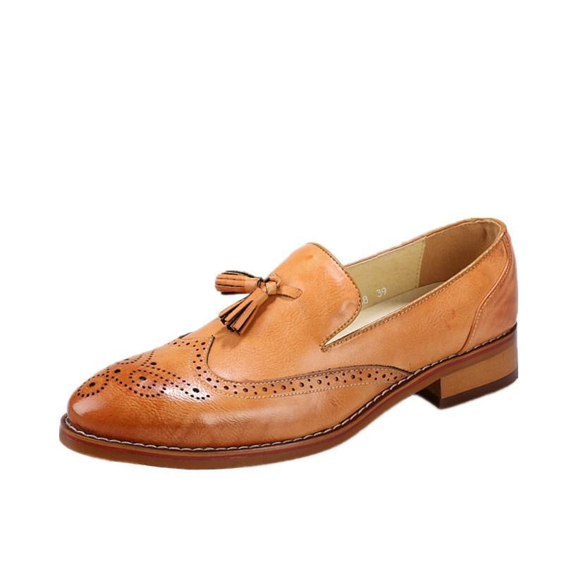Tasseled Perforated Wingtip Men Loafers Shoes - FanFreakz