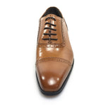Classic Pointed Toe Light Brown Men Oxford Shoes with Brogue Details - FanFreakz