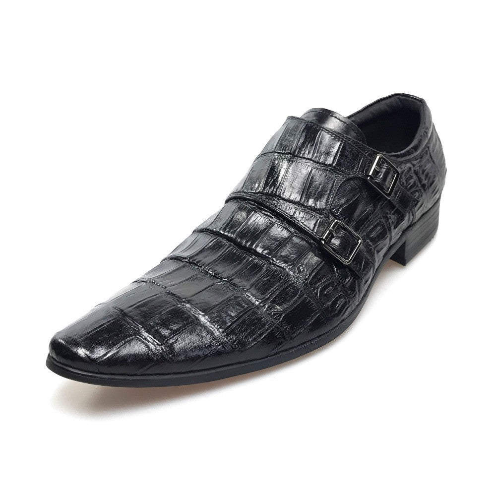 Exotic Pointed Toe Croco Pattern Double Monk Strap Men Shoes - FanFreakz