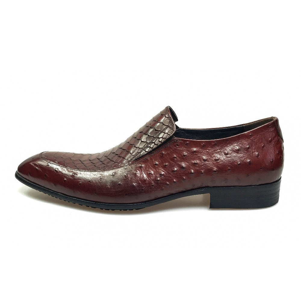 Exotic Python and Ostrich Pattern Men Leather Loafer Shoes - FanFreakz