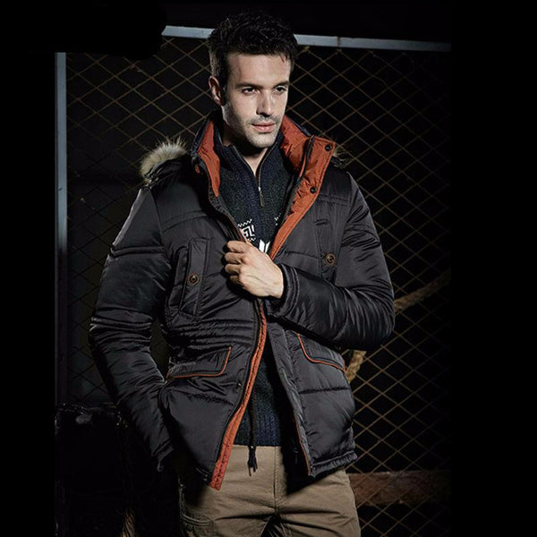 Men Thick Winter Jacket with Parka Hood