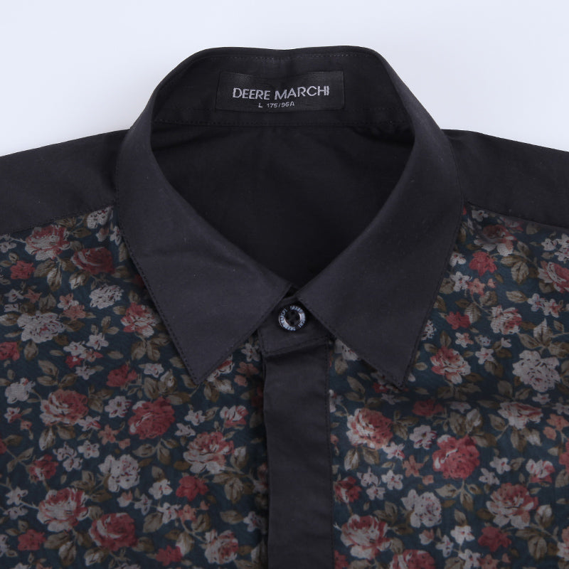 Half Chest Full Floral Printed Black Men Shirts - FanFreakz