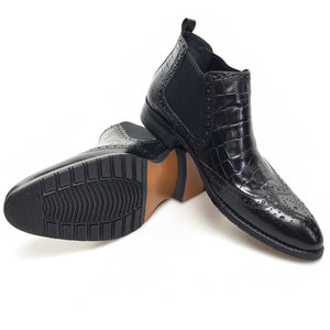 Pointed Toe Exotic Croco Pattern Men Ankle Boots with Wingtip - FanFreakz