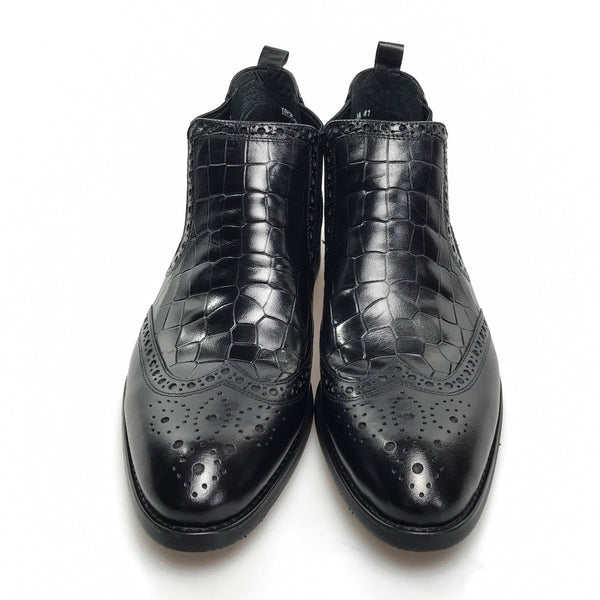 Pointed Toe Exotic Croco Pattern Men Ankle Boots with Wingtip