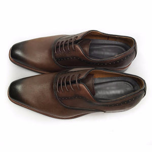 Vintage Brown Gradient Toe Men Dress Shoes - FanFreakz