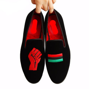 Unity for Black People Embroidery Symbol Men Loafer Shoes - FanFreakz