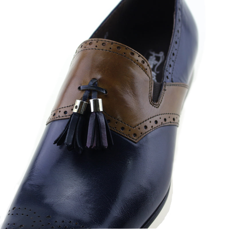 Dual Tone Patchwork Brogue Loafers Shoes With Tassels - FanFreakz