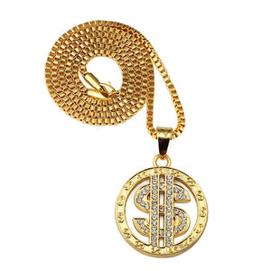 Rotate Dollar Sign Pendant Men Hip Hop Necklace - FanFreakz