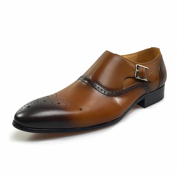 Gradient Toe with Brogue Single Monk Strap Style Men Formal Shoes