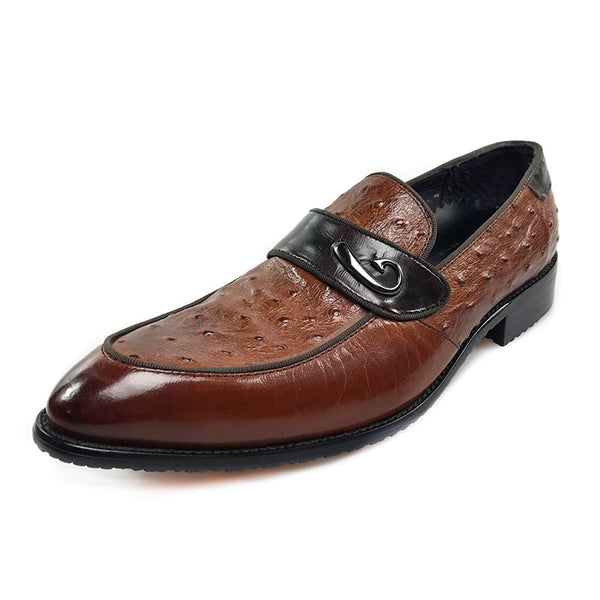 Ostrich Detail Pattern Italian Gentleman Loafer Shoes