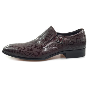 Fashionable Pattern Brown Men Loafers Shoes With Tiny Side Buckle - FanFreakz