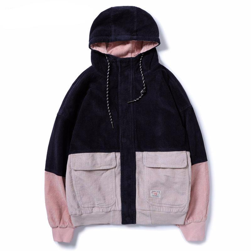 Korean Hip Hop Curdoroy Men Street Style Hooded Jacket - FanFreakz