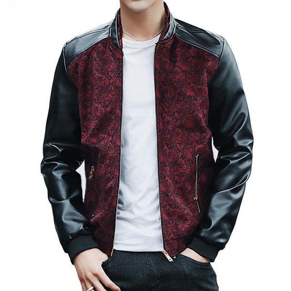 Contrast Paisley Pattern Combination Style PU Leather Sleeves Men Slim Fit Jacket