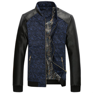 Contrast Paisley Pattern Combination Style PU Leather Sleeves Men Slim Fit Jacket - FanFreakz