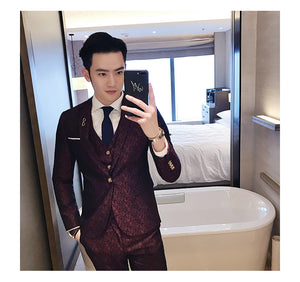 Dark Scattered Red Maroon Fancy Men Suit With Vest - FanFreakz