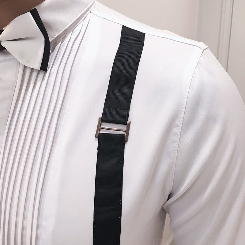 Bow Tie with Suspender Detail Men Long Sleeve Dress Shirt - FanFreakz