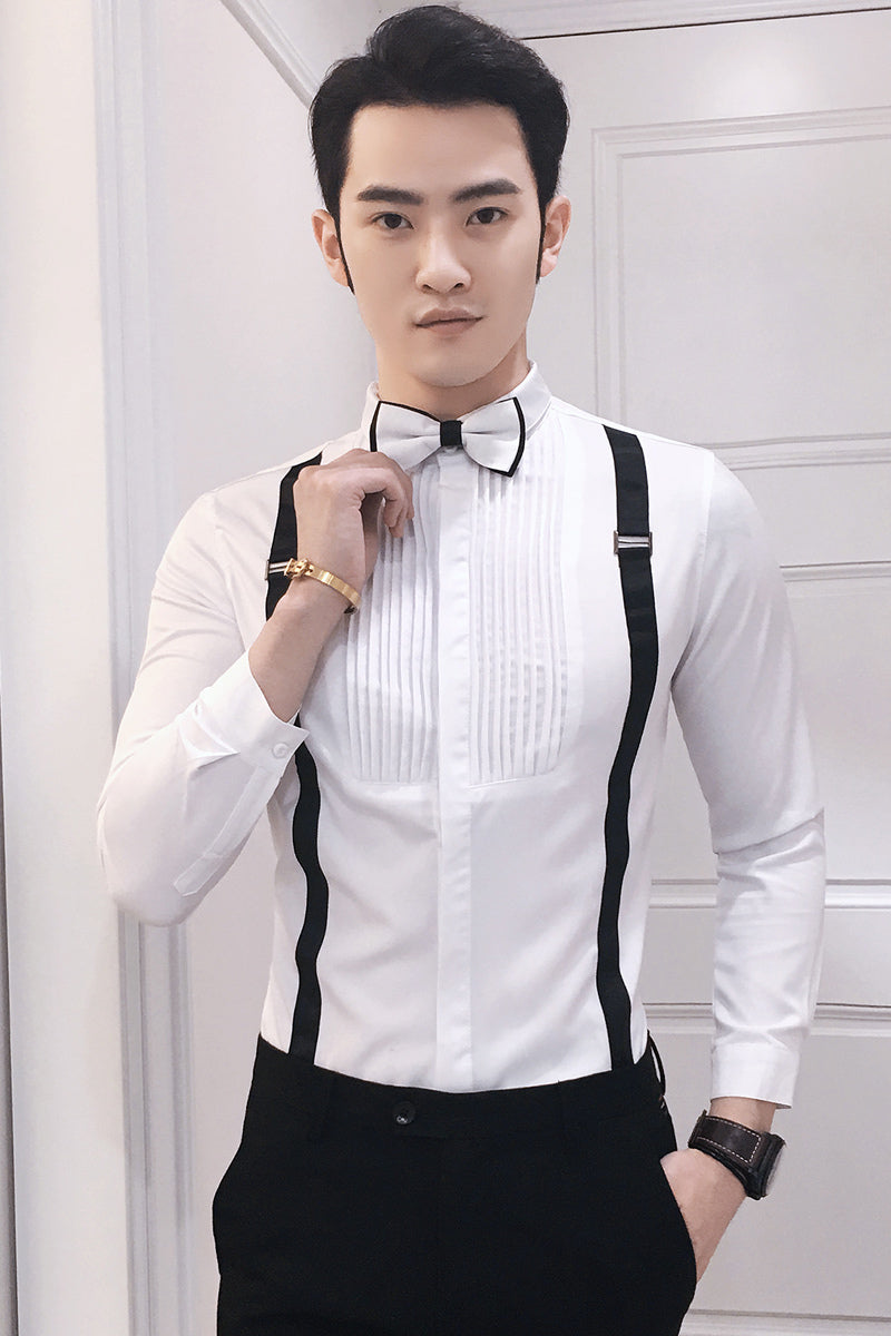Bow Tie With Suspender Detail Men Long Sleeve Dress Shirt Fanfreakz