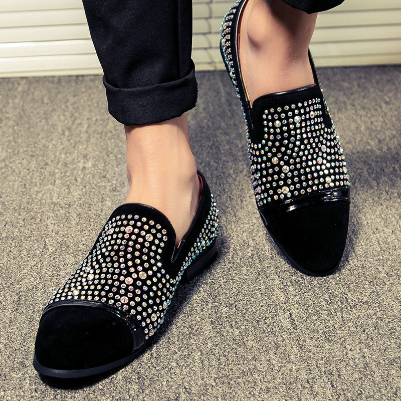 Rhinestone Men Loafers Shoe with The Clean Toe - FanFreakz