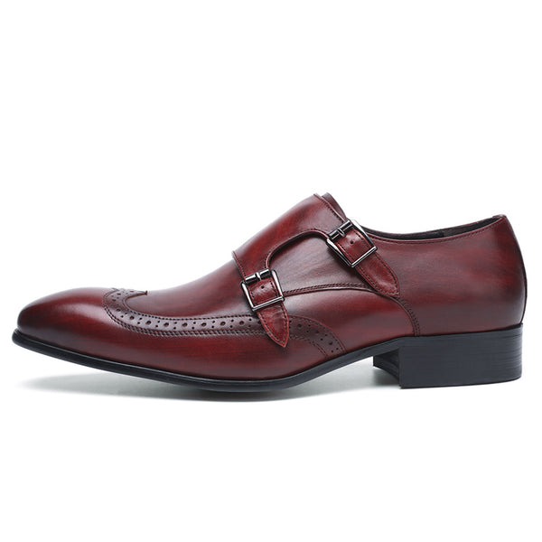 Perforated Wingtip Men Double Monk Strap