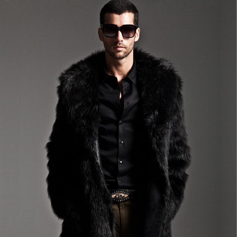 Men Long Faux Fur Coat for Winter - FanFreakz