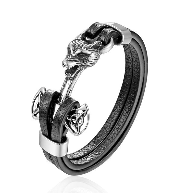Gold Leo Stainless Steel Anchor Black Leather Men Bracelets - FanFreakz