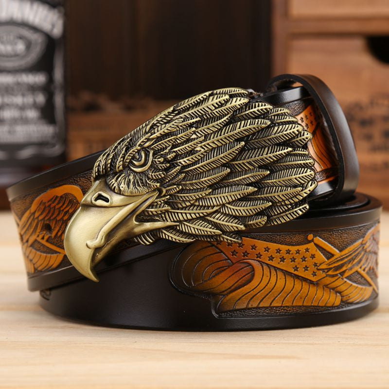 Men Leather Belt With Head of Eagle Buckle - FanFreakz