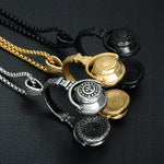 Punk Gold Color Titanium Stainless Steel Headphones Pendants Men Necklace - FanFreakz