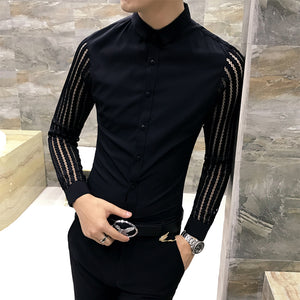 Transparent Sleeves Men Slim Fit Dress Shirts