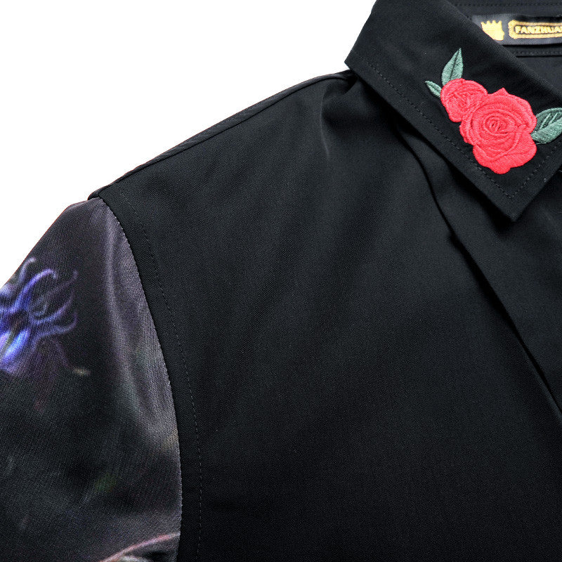 Men Black Long Sleeve Shirt with Flower Detail - FanFreakz