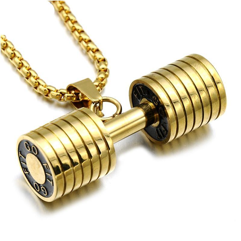 GO FIT Dumbbell Gym Fitness Barbell Pendant Men Necklace - FanFreakz
