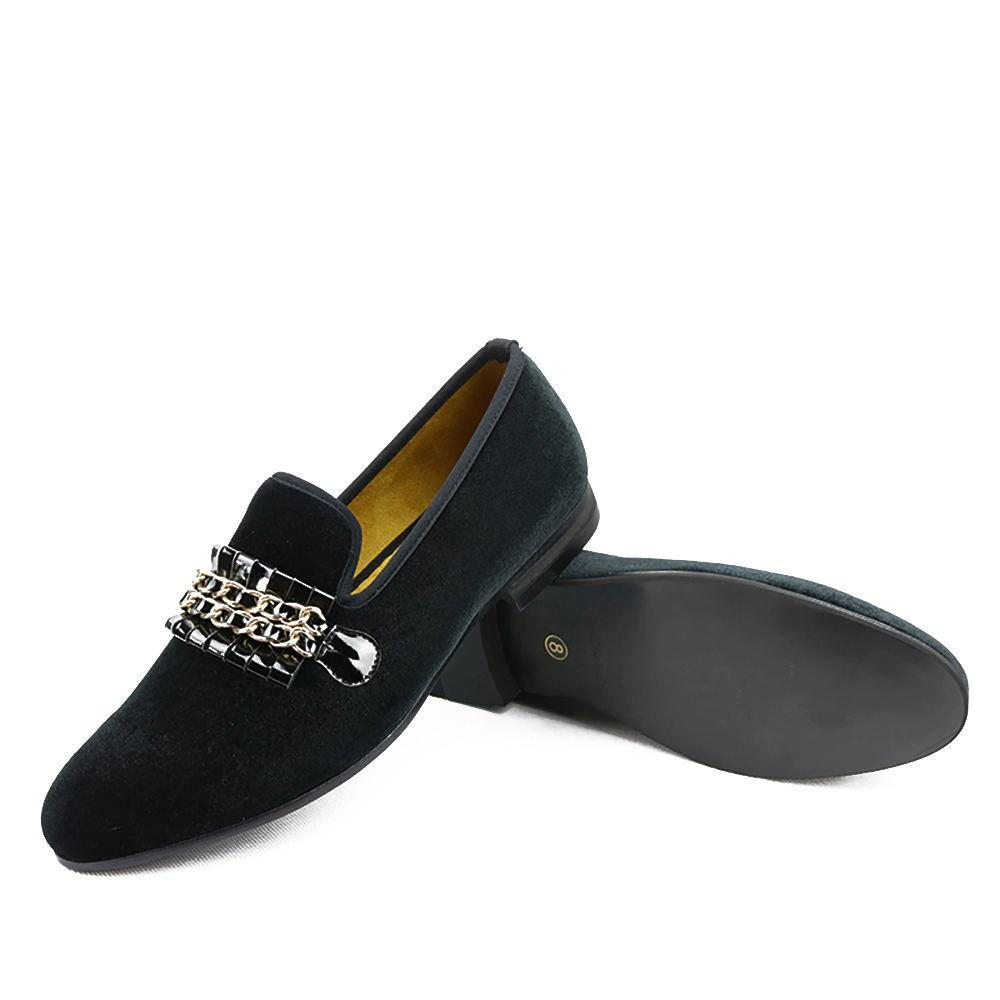 Golden Chain Upholstery Velvet Men Loafers Shoes - FanFreakz