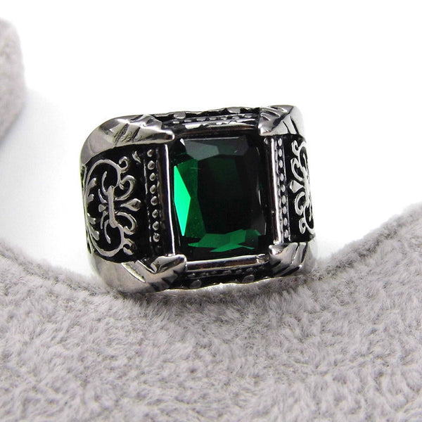 Big Square Vintage Style Crystal Stone Men Ring