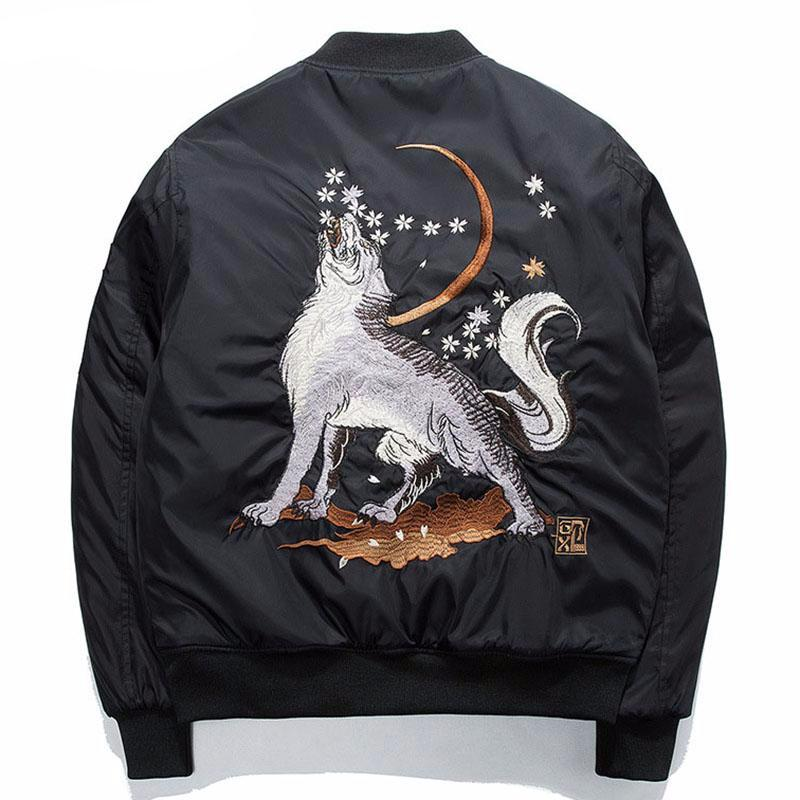 Wolf Embroidery Thick Men Bomber Jacket